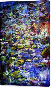 Impressionist lily pond painting and words by Ginette