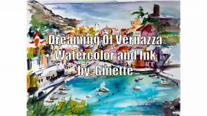 Painting Vernazza in watercolors and ink watch video