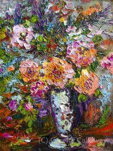 Make an Offer on Original Impressionist Oil Painting Heirloom Roses